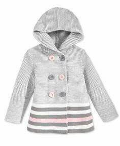 Baby Knitting Patterns Sweter First Impressions Baby Girls' Double-Breasted Striped Hooded Sweater, Baby Knitting Patterns, Baby Sweater Patterns, Knitting For Kids, Crochet For Kids, Baby Cardigan, Crochet Cardigan, Hooded Sweater, Crochet Jacket, Baby Girl Sweaters