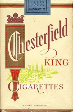 Chesterfield - Popular American soft-pack cigarettes in the and Vintage Cigarette Ads, Cigarette Brands, Vintage Ads, Vintage Posters, Cigarette Box, Vintage Signs, Old Advertisements, Advertising, Chesterfield Cigarettes
