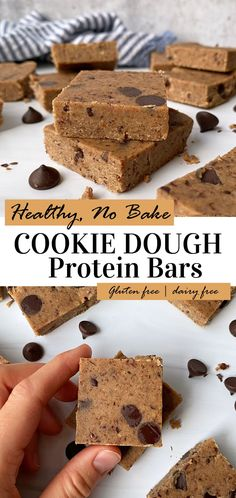 These healthy, no bake cookie dough protein bars are just what you need for a healthy vegan snack. High in protein, low carb, grain free, gluten free and low in sugar! This healthy chocolate chip protein bar recipe is super easy to make and tastes like cookie dough. #proteinbar #vegan #cookiedoughbars #nobake #grainfree Low Sugar Protein Bars, Low Carb Protein Bars, Protein Bar Recipes, Healthy Dessert Recipes, High Protein, Breakfast Recipes, Snack Recipes, Desserts, Dairy Free Keto Recipes