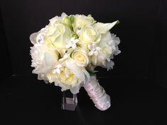 White Bridal Bouquet | White Wedding | Wedding Flowers | Boston Wedding | Bridal Bouquet | Stapleton Floral Design | Stephanotis | Roses | Calla Lilies
