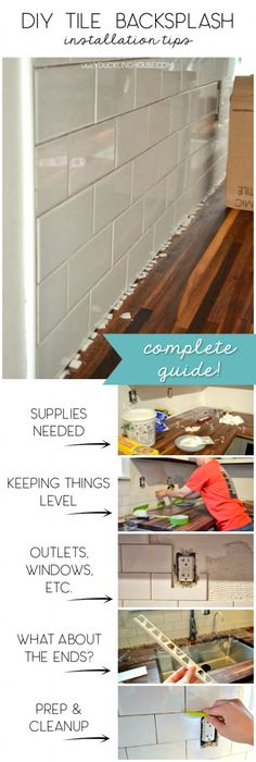 Complete guide with lots of tips and easy hacks for installing a tile backsplash in the kitchen. Need to remember this! Complete guide with lots of tips and easy hacks for installing a tile backsplash in the kitchen. Need to remember this! Home Improvement Loans, Home Improvement Projects, Home Projects, Azulejos Diy, Future House, Diy Tile Backsplash, Diy Tiles, Installing Backsplash Tile, Paint Tiles