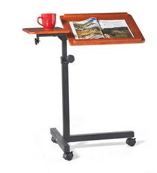 Rolling, Adjustable Wood Laptop Table Desk. Noodle needs this