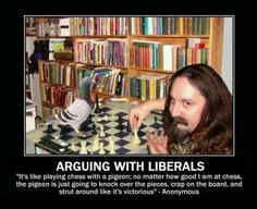 Arguing w/liberals is like playing chess w/a pigeon.