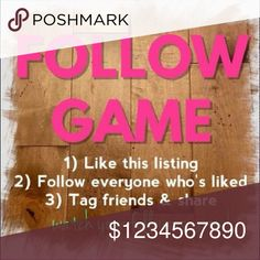 FOLLOW GAME Let's do this together fellow Posher's! Like, Follow, and Share ? Tory Burch Bags Totes