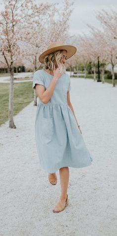 Denim Pocket Dress   ROOLEE