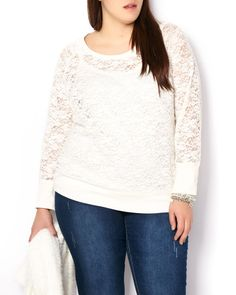 Long Sleeve Lace Top | Penningtons | Embellish your casual look with this soft and feminine plus-size top! Features lovely lace overlay, long sleeves, cozy cotton blend fabric, a flattering scoop neck and ribbed detailing at hem, neckline and cuffs. Pair it with a cami and your favourite jean!