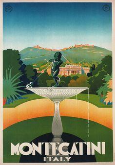 TV37 Vintage 1930 Montecatini Tuscany Italian Italy Travel Poster Print A2 A3 | eBay