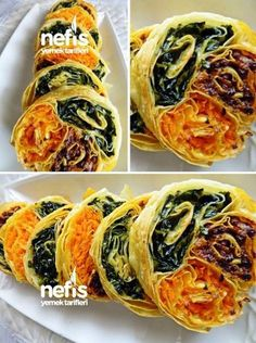 Üç Renkli Börek Nasıl Yapılır? Malzemeler 4 yufka 250 gr kıyma 1 soğan 4 büyük havuç yarım kilo ıspanak 5 çorba kaşığı sıvı yağ tuz yarım çay kaşığı karabiber yarım çay kaşığı kimyon yarım çay kaşığı nane yarım demet maydanoz 1 yemek kaşığı salça 2 yumurta sarısı