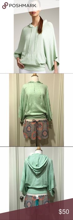 Peace Pipe Hoodie by Minnie Rose NWOT Peace Pipe hoodie in Green Peace by Minnie Rose. New without tags, never worn. Drawstring hood, bracelet batwing sleeves, kangaroo pocket, banded hem. Gorgeous heathered seafoam color. Size XS/S. Minnie Rose Tops Sweatshirts & Hoodies