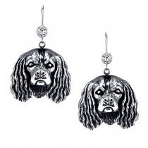 KING CHARLES SPANIEL EARRINGS #ER-6  | These earrings are available in all breeds! | Retail Price: $99.95 | 925 Sterling Silver | Each earring has a small bezel set CZ on top of the dog bead. Please note that these earrings can be special ordered in 10k, 14k or 18k gold. Hand-crafted in the USA, Available at ANDREW GALLAGHER JEWELERS, Newark, DE 302-368-3380. We Ship!