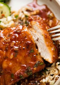 garlic chicken Recipe video above. An incredible quick and easy way to serve up chicken breast - seared then simmered in the most amazing honey garlic sauce. Don't be deceived by the sh Easy Honey Garlic Chicken, Garlic Chicken Recipes, Healthy Chicken Recipes, Healthy Dinner Recipes, Cooking Recipes, Chicken Parmesian, Chicken Enchalada, Chicken Cassrole, Kitchen