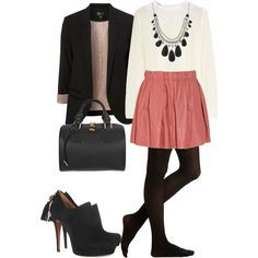 Love the colored skirt with the black tights.