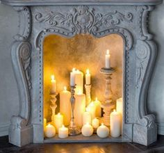 Candles in fireplace. Beautiful idea!