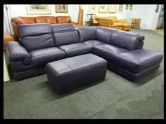 Natuzzi Purple Leather Sectionals