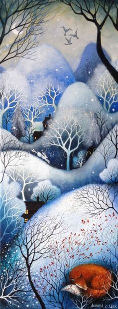 Amanda Clark paintings at Obsidian Art. Amanda is currently exhibiting several of her original paintings at Obsidina Art gallery as a guest art Winter Art, Winter Night, Clark Art, Art Sculpture, Photo D Art, Fox Art, Naive Art, Whimsical Art, Christmas Art