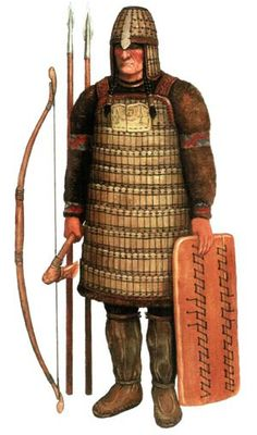 Kulayskaya culture (Кулайская культура), heavy warrior with an armor made of horny plates, VI-III centuries BC