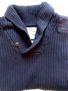 Mens ROOTS Knit Fishermans Winter Sweater SizeXXL Navy Blue Denim Elbow Patch #Roots #Mock