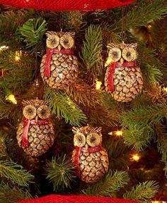 Owl Pine Cone Ornaments Christmas Tree Trimming Holiday Decoration - SET OF 4 Preschool Christmas Crafts, Christmas Ornament Crafts, Holiday Crafts, Holiday Decor, Pine Cone Art, Pine Cone Crafts, Pine Cones, Pinecone Owls, Pinecone Ornaments