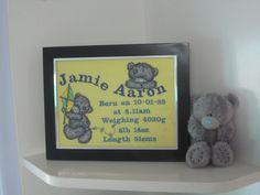 Teddy bear embroidery designs on birth announcement frame