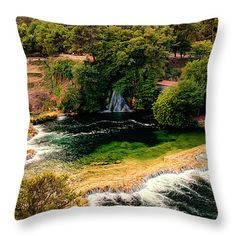 "Waterfalls and Lagoons Throw Pillow 14"" x 14"" by Lucie Rovna"