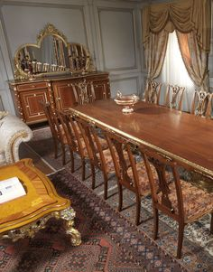 "Classic dining rooms in style Louis XV, Louis XVI, ""Maggiolini"" and 800 French with carvings, inlaid and gildings, entirely made in Italy"
