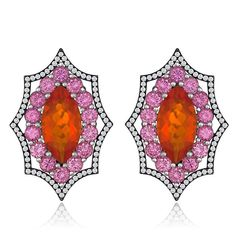 18K white gold earrings featuring Mexican Opal (3.29 ctw.) accented with pink Sapphires (2.80 ctw.) and Diamonds (.47 ctw.) from AGTA Member, Campbellian Collection.