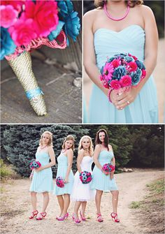 I like the idea of having pastel dresses and bright flowers -- Pastel aqua w/pops of pink in the flowers! That's super cute! Blue Bridesmaids, Blue Bridesmaid Dresses, Blue Dresses, Pastel Dresses, Wedding Dresses, Cute Wedding Ideas, Wedding Styles, Wedding Inspiration, Wedding Photos