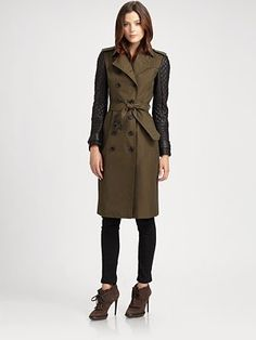 Burberry London - Leather-Sleeve Trench, Burberry London Denim Legging Jeans, Burberry Prorsum Lether Lace-Up Platform Ankle Boots- Saks.com