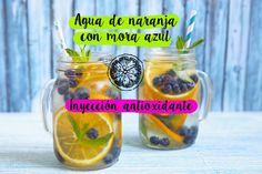 Agua de naranja con mora azul. Recetas de Yuya