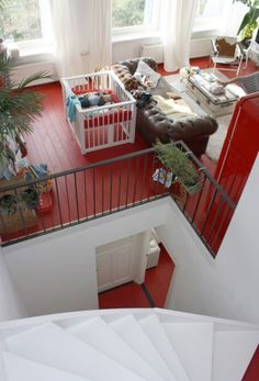 red floor, white walls