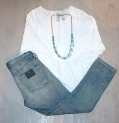 Thursday Coffee Break Light Weight Three-Quarter Length Dolman Shirt  by Kerisma $55 Light Was Distressed Boyfriend Jeans  by Citizens of Humanity $216 Turquoise and Gold Bead Necklace $54