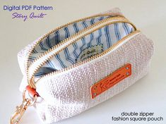 Hello, welcome to my shop ^v^ ** This is a digital pdf sewing pattern, not the real product. If you are looking for the finished good, kindly refer to the link below or check out the Story Quilts Handmade section. This square pouch sewing pattern provides 2 compartments which is