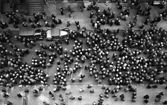 Overhead view of men wearing hats, New York, 1930. Photo by: Margaret Bourke Whit