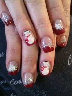 Snowman wants to get laid. Nail Tips, Nail Ideas, Red Tip Nails, Snowman Nails, Christmas Nails, Nail Designs, Nail Art, Beauty, Christmas Manicure