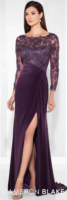 Formal Evening Gowns by Mon Cheri - Spring 2017 - Style No. 117613 -  purple evening dress with lace illusion long sleeves Purple Evening Dress, Long Sleeve Evening Dresses, Long Evening Gowns, Evening Gown With Sleeves, Formal Gowns With Sleeves, Mon Cheri, Lace Dress With Sleeves, Mob Dresses, Bridesmaid Dresses