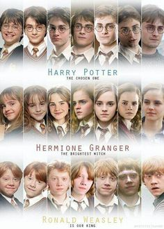 another pinner said: I love how Ron's photos don't get serious and worried looking until the very end! Harry: book three. Hermione: book four. Ron: book muthafuckkng SEVEN