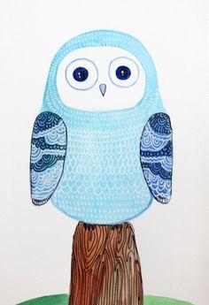 Blue Owl-Nursery Decor-original painting-bird art on Etsy, $21.99