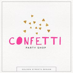 Custom Party Logo , Faux Gold Confetti , Modern Logo Design , Fun Logo Perfect For Your Business!