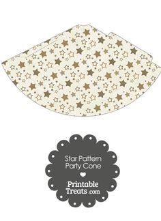 Vintage Brown Star Pattern Party Cone from PrintableTreats.com