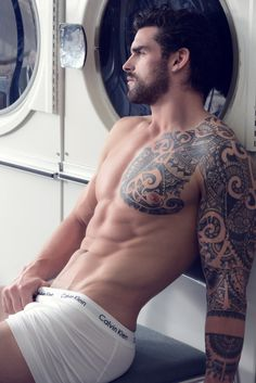 Man, body, tattoo, underwear, beard, handsome, male, ink.