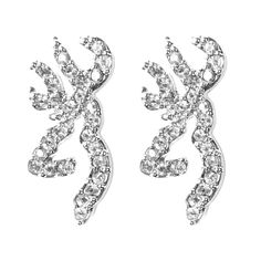 """These sparkly Ice Bling earrings feature the famous Buckmark symbol studded with clear rhinestones. Post earrings measure about 7/8"""" high. Hypoallergenic and nickel-free. #CountryGirl #Browning"""