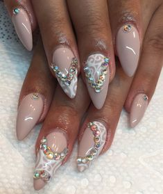 Day 180: Nude & Crystal Nail Art - - NAILS Magazine