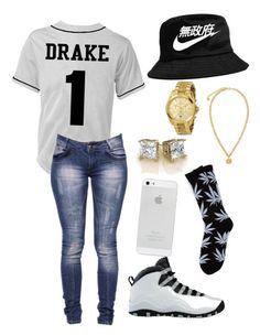 Runnin Through The Six Wit My Woes ✨ by xlvibesx on Polyvore featuring polyvore, мода, style, Boohoo, Versace, Michael Kors, NIKE and HUF