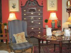 Circa 1780 Bonnet top High Boy with French Blue Chair and English Queen Anne Table circa 1760