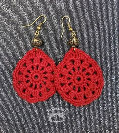 Handmade crochet earrings For orders choose the color in the menu . Crochet Jewelry Patterns, Crochet Earrings Pattern, Crochet Accessories, Crochet Motif, Crochet Lace, Crochet Necklace, Thread Crochet, Crochet Stitches, Crochet Decoration