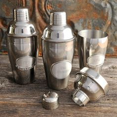 Cocktail Shaker w/Pewter Medallion - Personalized - Engraved Gifts for Groomsmen (871). $28.99, via Etsy.