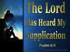Psalm 6:9 (KJV) ~ The Lord hath heard my supplication; the Lord will receive my prayer.