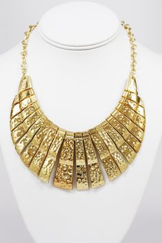 Gold Rush Textured Gold Tribal Statement Necklace - $46 - Find hot fashion jewellery and statement jewlry at Strike Envy. #jewellery #jewlry #necklace