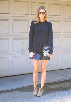 Untucked..... Oversized Navy Sweater & Blue Skirt