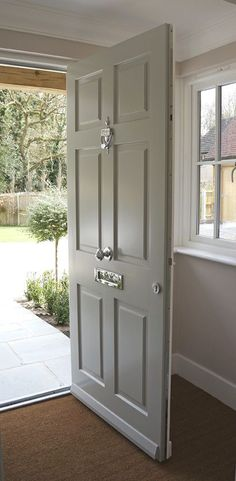 Traditional-style timber windows and doors from the Conservation™ range by Mum. - Traditional-style timber windows and doors from the Conservation™ range by Mumford & Wood have be - Victorian Front Doors, Grey Front Doors, Front Door Porch, Porch Doors, Front Door Entrance, House Front Door, House Entrance, Solid Wood Front Doors, Victorian Internal Doors